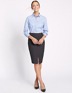 Welt Pocket Split Front Pencil Skirt