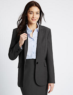 Piped Single Button Blazer