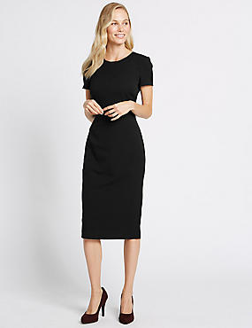Multi Stitch Waist Bodycon Midi Dress