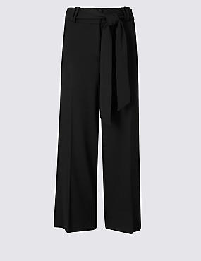 Tie Front Wide Leg Cropped Trousers