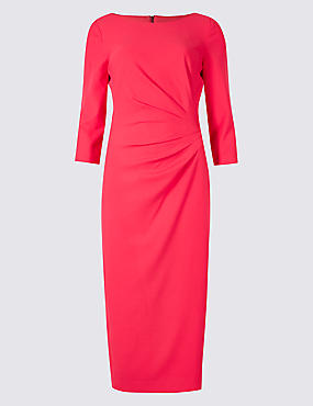 Drape 3/4 Sleeve Shift Midi Dress, PINK, catlanding