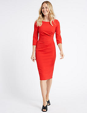 Drape 3/4 Sleeve Shift Midi Dress, RED, catlanding