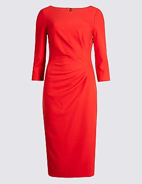 Drape 3/4 Sleeve Shift Midi Dress, RED, catlanding