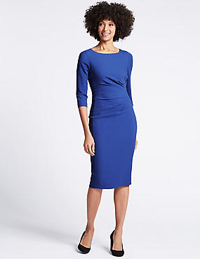 Drape 3/4 Sleeve Shift Midi Dress