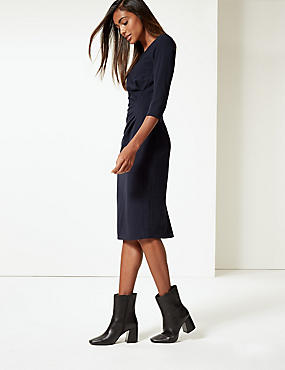 Drape 3/4 Sleeve Shift Midi Dress, NAVY, catlanding