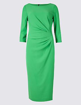 Drape 3/4 Sleeve Shift Midi Dress, GREEN, catlanding