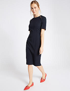 Button Shoulder Piped Shift Midi Dress
