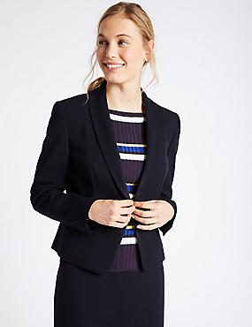 Grosgrain Trim Single Button Blazer