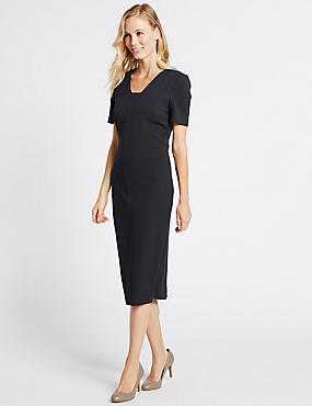 Seam Detail Short Sleeve Shift Midi Dress