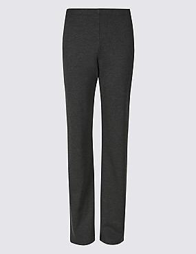 Ponte Straight Leg Trousers, CHARCOAL, catlanding