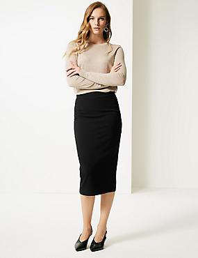 Seamed Pencil Midi Skirt, BLACK, catlanding