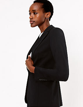 Single Breasted Stitch Detail Blazer , BLACK, catlanding