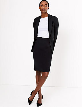 Tailored Fit Pencil Skirt, BLACK, catlanding