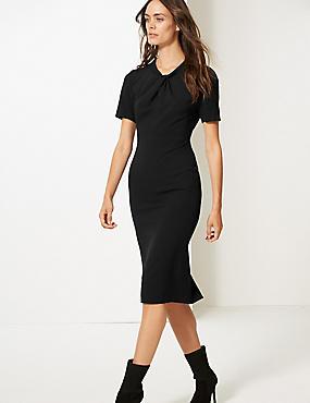 Short Sleeve Bodycon Dress, BLACK, catlanding