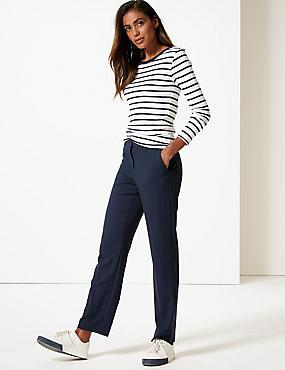 Straight Leg Trousers , NAVY, catlanding