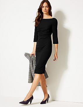 Side Fold 3/4 Sleeve Shift Midi Dress , BLACK, catlanding