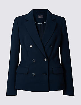 Double Breasted Blazer , NAVY, catlanding