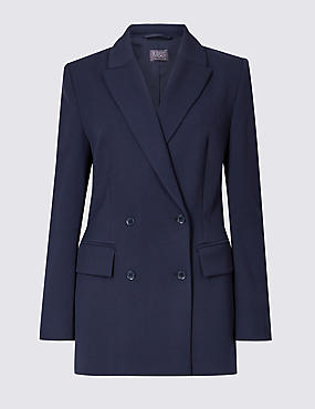 Double Breasted Blazer, NAVY, catlanding