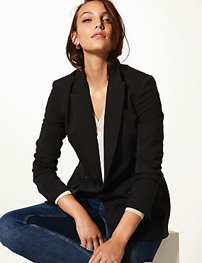 Double Breasted Blazer, BLACK, catlanding