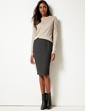 Textured Pencil Skirt , CHARCOAL, catlanding