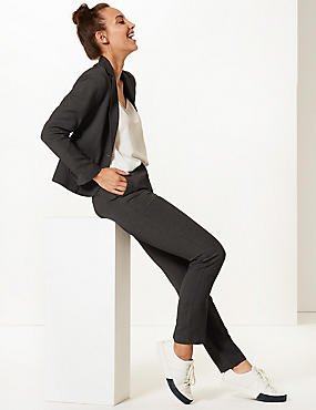 Textured Single Breasted Blazer, CHARCOAL, catlanding