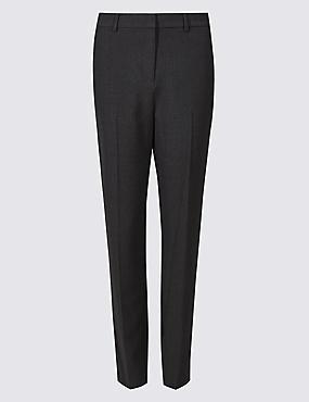 Textured Slim Leg Trousers , CHARCOAL, catlanding