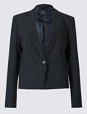 Striped Single Breasted Blazer , NAVY MIX, catlanding