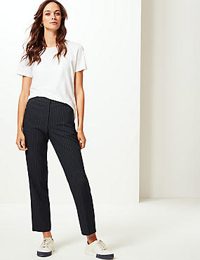 Striped Straight Leg Trousers , NAVY MIX, catlanding
