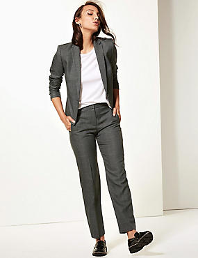 Checked Single Breasted Blazer, GREY MIX, catlanding