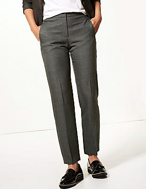 Checked Straight Leg Ankle Grazer Trousers, GREY MIX, catlanding