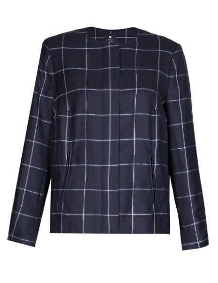 Best of British Pure New Wool Checked Bomber Jacket