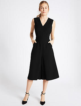 Pinafore Crepe Culotte V-Neck Jumpsuit