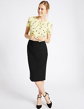 Grosgrain Trim Pencil Midi Skirt, BLACK, catlanding