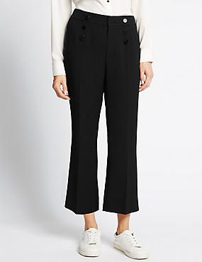 Stitched Boot Leg Cropped Trousers