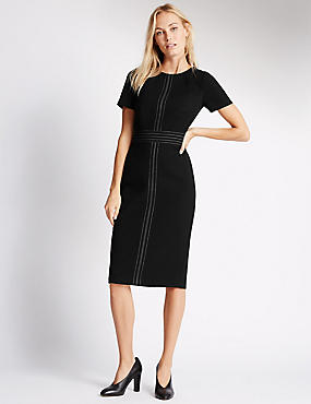 Contrasting Stitch Short Sleeve Shift Dress