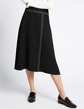 Stitched Wrap Midi Skirt