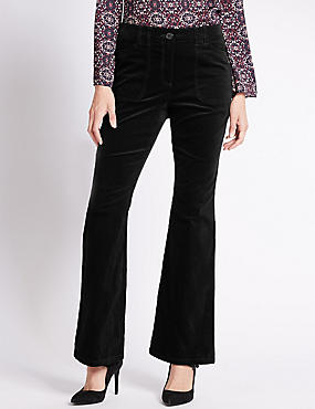 Cotton Rich Velvet Boot Leg Trousers