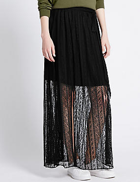 Tailored Fit Lace Maxi Skirt