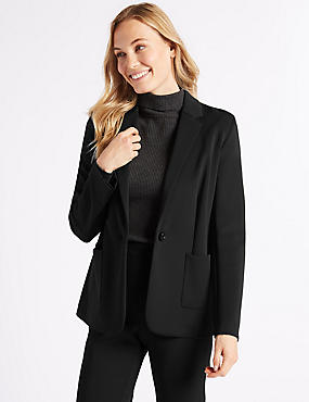 One Button Brushed Back Jersey Blazer