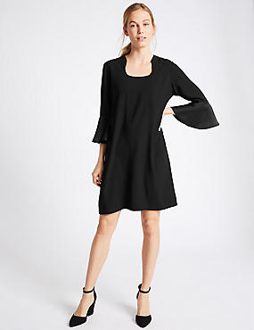 Flared Sleeve Shift Dress