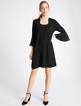 Flared Sleeve Shift Dress, BLACK, catlanding