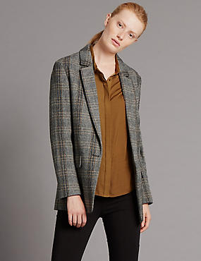Checked Herringbone Jacket with Buttonsafe™