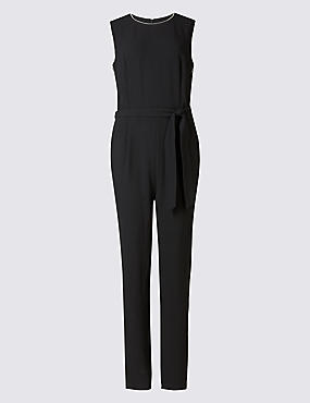 Contrast Piping Jumpsuit with Belt