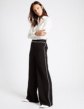 Contrast Piped Palazzo Wide Leg Trousers