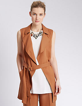 Tailored Fit Longline Waterfall Belted Jacket