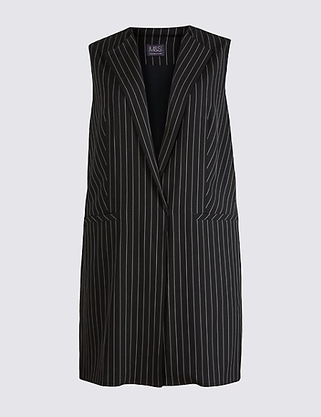PLUS Pinstripe Sleeveless Jacket