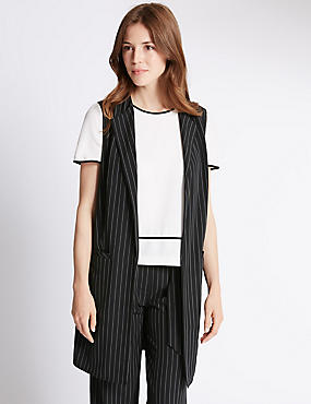 Loose Fit Pinstripe Sleeveless Jacket