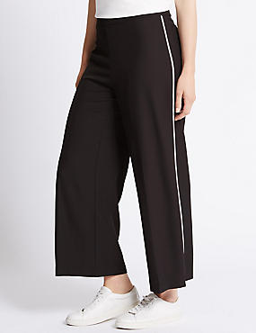 4 Way Stretch Tipped Wide Leg Trouser