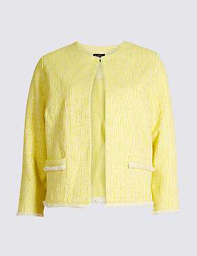 Cotton Rich Textured Trophy Jacket, YELLOW, catlanding
