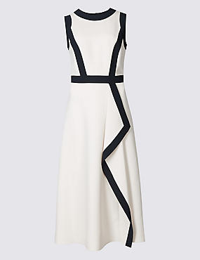 Contrast Waterfall Front Midi Dress